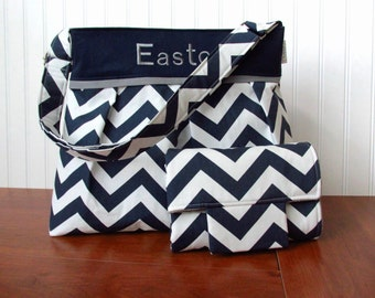 Monogrammed Chevron Diaper Bag Set in Navy Blue Chevron and Gray with Matching Changing Pad Available