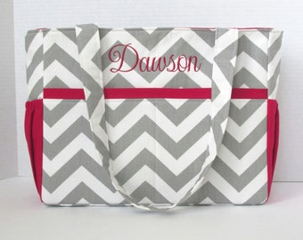 Personalized Chevron Diaper Bag in Gray Chevron and Crimson Red or Lining or Choose Your Own 12 Pockets Zipper Closure