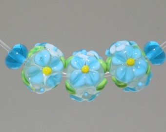 Handmade Lampwork Beads, Set of 3 Turquoise Flower Lampwork Beads. Turquoise Florals, Lil White accent flowers,