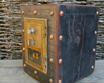 Post office Box Piggy Bank, Chester Mannly Black Over Vintage Wood with Brass Door
