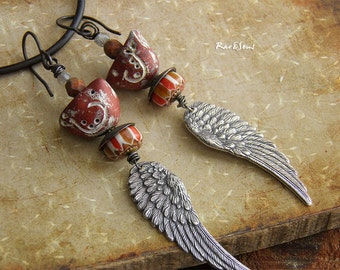 Bohemian Earrings-Rustic vintage earrings-Grunge earrings-angel wing and bird-long earrings hippie boho-antique silver and brown-gypsy boho