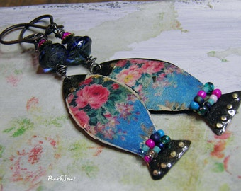 """Earrings vintage- bohemian """"Little Russian fish"""" fish pendant vintage pink and blue Slavic pattern- bead and crystal"""