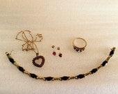 1970s Ruby & Diamond Jewelry Set (Pendant, Earrings, Ring, Tennis Bracelet)