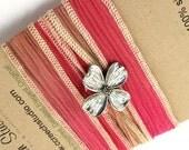 Pink Silk Wrap Bracelet with Dogwood Blossom Button