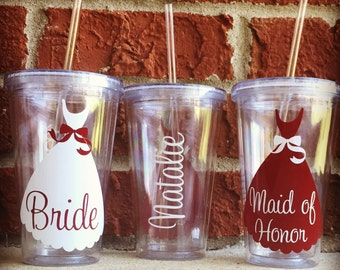 Set of 4 Wedding Tumblers, Wedding Cups, Bridesmaid Cups, Bridesmaid Tumblers, Bridesmaid Gift, Bridal Party Cups