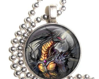 Black and Yellow Dragon Altered Art Photo Pendant, Earrings and/or Keychain Round, Silver and Resin Charm Jewelry