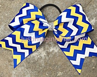 "2.25""x6""x6"" Cheer Bow Royal Blue, Yellow and White Chevron"