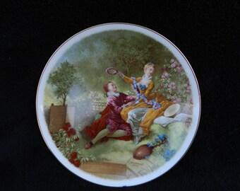 Vintage Plate: Victorian Romance Scene Decorated Porcelain