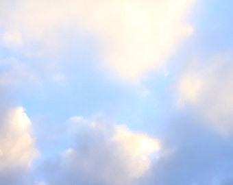 Fluffy White Clouds in a Blue Sky - After the Rain - Photo Print - Size 8x10, 5x7, or 4x6