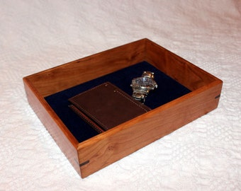 Men's Valet Box - Wooden Tray or Dresser Box - Cherry with Walnut Accent
