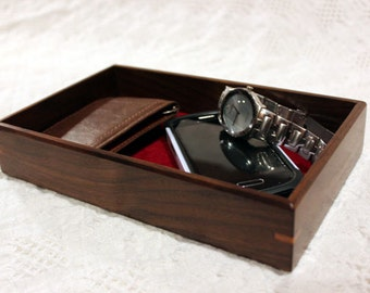 Men's Valet Box - Wooden Tray or Dresser Box - Walnut with Cherry Accent