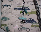 """Crossbody Bag  Reversible Washable  """"CARS AND STRIPES"""" Sling Purse with Keychain / Bagcharm"""