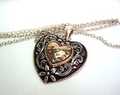 Shop Closing, Romantic Silver & Gold Heart Necklace, 24 inch, extension chain, hammered, scroll heart