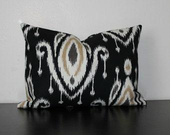 Decorative Throw Pillow, 12x16,12 x18 Lumbar Pillow, Black Ikat Pillow, Surat Ikat Pillow,Toss Pillow, Accent Pillow, Sofa Pillow