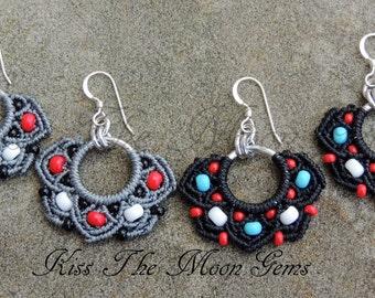 Boho Macrame Half-Flower Earrings - Black or Grey - Seed Beads