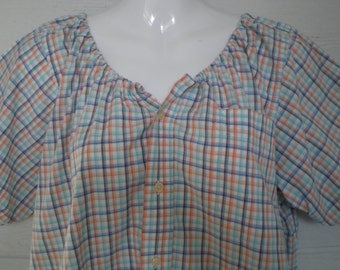 Peasant Blouse upcycled from a men's shirt, 50 inch chest, Large, orange, blue and turqouise plaid