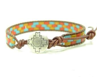 Half Tila  Beaded Leather Wrap Bracelet, Western Style Beaded Single Wrap, Boho Jewelry, Southwestern Beaded Wrap Bracelet