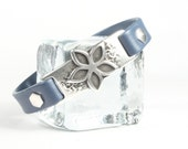 Blue and silver leather bracelet  Snowflake design Magnetic clasp CarolMade L55