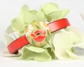 Red Leather Bracelet Poppy Flower Design Ceramic Slide Magnetic Clasp  CarolMade L13