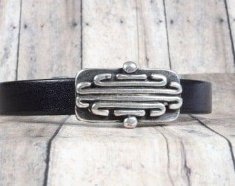 Mens black leather bracelet, Father's day gift, Art Deco design, Magnetic clasp, CarolMade Ms30
