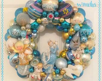 "Chic Aqua Angel Vintage Ornament Wreath ~Large 20"" , Shiny Brite, Vintage Spaghetti Trim Arnalt Lenwile Angel OOAK!"