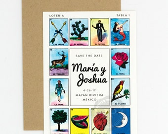 Destination Wedding Save the Date - Loteria Inspired Colorful Festive Mexican, Loteria Card Wedding Save the Date (Maria Suite)
