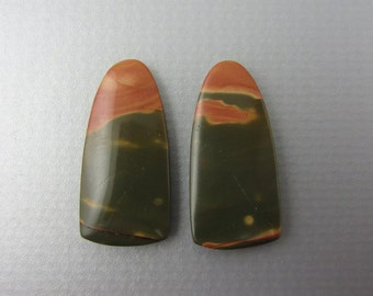SALE Beautiful  cut and polished pair of  jasper , cherry creek jasper  B5508