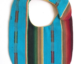 Serape Baby Bib, Turquoise or White, Unisex,  Baby Gift, Mexican Blanket Bib