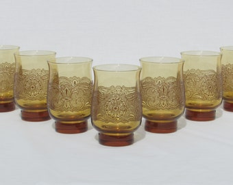 Victorian Style Raised Relief Amber Colored Glasses - Lot of Seven (7) - Scrolling Floral Design Motif
