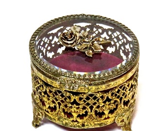 Vintage Ormolu Brass and Glass Jewelry Casket- Mid Century Vanity Item Red Velvet