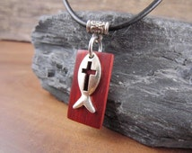 Small Jesus Fish Necklace, Christian Fish Necklace, Jesus Fish Pendant, Jesus Fish Charm, Ichthus Necklace, Christian Fish Jewelry