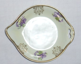 VINTAGE Made in Germany Plate with Beautiful Lavender/Purple Violets  Open Handle Pour Spout