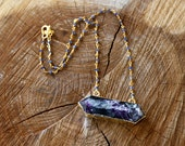 Fluorite double pointed pendant with iolite chain