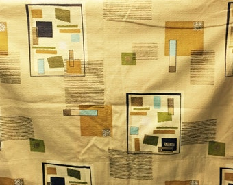 Fab Eames Era Vintage 50s Atomic Fabric Mid Century Abstract