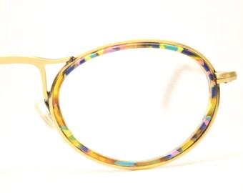 Vintage Oval Glasses Frames Bronze Colorful 1980s Retro Eyeglasses