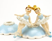 Vintage Holt Howard Ballerina Candle Huggers 1950s, Candlestick Holders, Candle Rings, Ballet Dancers Blue, Candle Climbers, Japan, Epsteam
