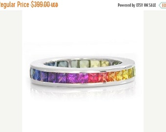 Valentines Day Sale Multicolor Rainbow Sapphire Eternity Band Ring 925 Sterling Silver (3ct tw) : sku R2045-925