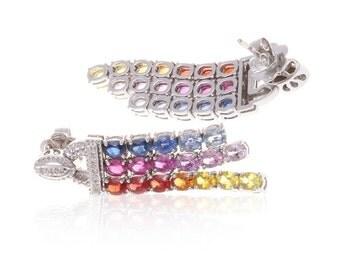 Multicolor Rainbow Sapphire & Diamond Dangle 18K Gold Earrings (7.72ct tw) SKU: 7385