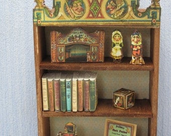 """Gaël dollhouse Miniature Wooden cabinet is filled with Furniture theme """"Punch and Judy"""" - Handmade   Vintage  in 1:12 scale"""