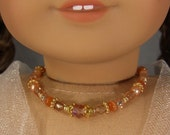 Reserved for Penny: PEACH and pale orange GLASS NECKLACE for American Girl Dolls Glass Beads with gold for Caroline, Regency