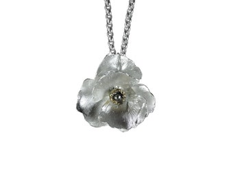 Sterling silver poppy pendant necklace