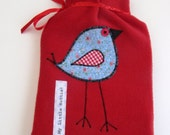 Bright Red Fleece Hot Water Bottle Cover