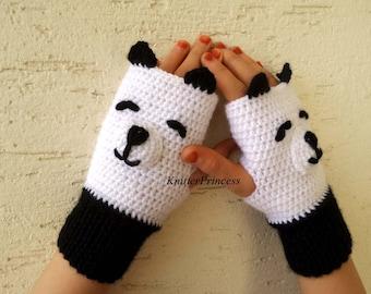 Panda bear gloves, crochet panda mittens, panda fingerless gloves, animal gloves, adult size, gift for her, gift for him, gift for bff