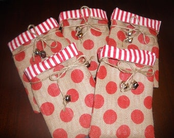CHRISTMAS BURLAP FABRIC Lined Gift Favor Bags