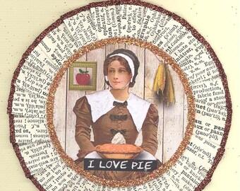 Thanksgiving Ornament | Happy Thanksgiving | Pilgrim | Vintage Style