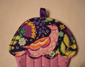 Abstract Print Bird and Floral Print Cupcake Shape Potholder