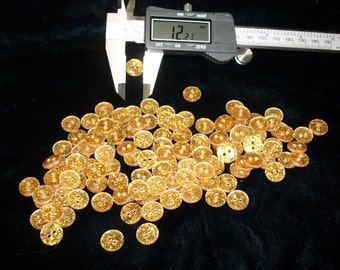 Bright Gold Glitter Buttons, 12.21 mm, 2-hole, Wholesale!