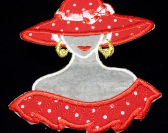 Red Hat Girl, glue on or sew on patch