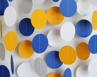 Blue / Gold / White Graduation Decor, Royal Blue, Golden Yellow and White Paper Garland, Graduation Party Decorations, Boy's Birthday Party