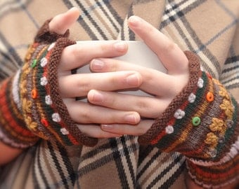 Refill Yarn Pack for Earth Colors Fingerless Gloves Kit by Little Woolly Things